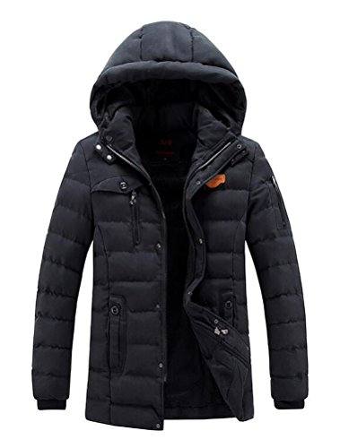 Vogstyle Herren Kapuzenparka Winterjacke Winter Mantel Jacket mit Futter Warm Abnehmbare Hoodie Parka Wintermantel Herrenmantel Art 2 Schwarz