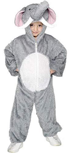 Fancy Me Mädchen Jungen Kinder Elefant Dschungelbuch Wildes Tier Overall Einheitsgröße Büchertag Halloween Kostüm Verkleiden Outfit - grau, grau, 4-6 Years