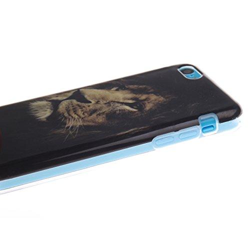"""SsHhUu iPhone 5c Coque, Personality Animal Ultra Slim Doux TPU Flexible Durable Gel Silicone Protecteur Rear Skin Painting Art Étui Housse Case Cover Pour Apple iPhone 5c 4.0"""" Personnalité Animal"""