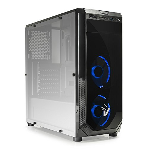 Vultech gs-0385bl gaming blackdoom case atx, usb 3.0, sd card, ventole blu retato, nero
