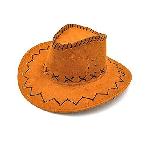 LUFA Unisexe Hommes / Femmes Western Cowboy Bucket Brim Cap Sunscreen Chevalier Denim Hat Light Brown