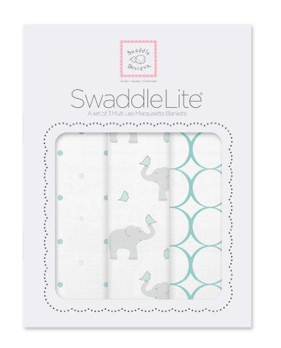 SwaddleDesigns Pucktücher aus Premium Baumwollmarquisette, 3er Set, Elefant und Küken, Meerkristall