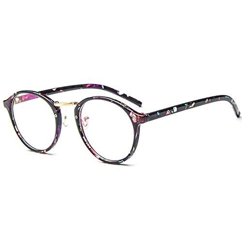 Forepin Nerdbrille Retro Rund Unisex reg; Dekogläser Klassisches Mode Damen/Herren Brillen - Schwarze Blumen (Schwarze Blume Sonnenbrille)
