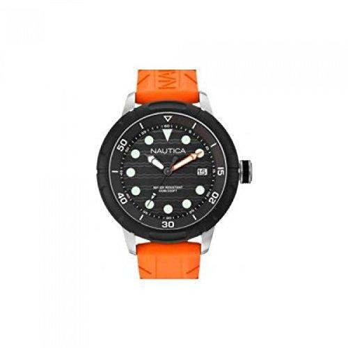 Nautica Women's 49mm Orange Silicone Band Steel Case Quartz Black Dial Analog Watch A16598G