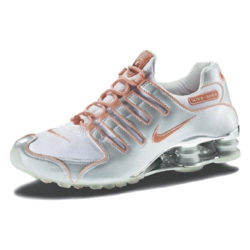Nike Schuh Frauen Shox NZ, Größe 7,5, weiß/lachs (Nike Shox Damen Weiß)