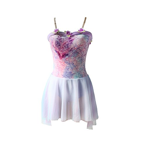 Newdance Lyrical Dress Flower Bodice High Low Splicing Tutu Dancewear Princess Dress up NT027,Lavender multi,XLA