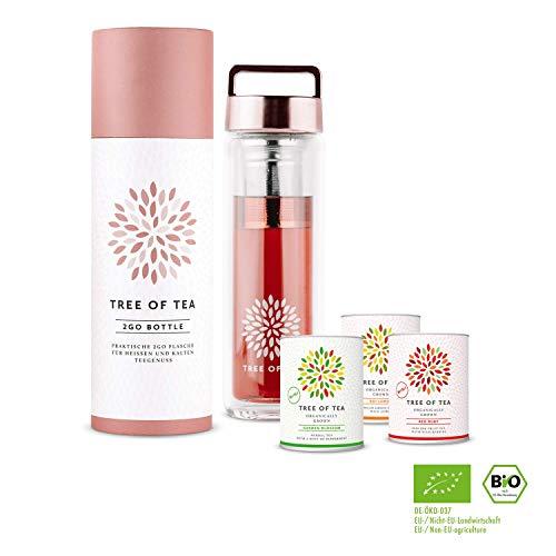 mymuesli 2go-bottle Probierpaket - Tree of Tea - 3x Bio-Blatt-Tee - 450 ml 2go-Bottle - Geschenkverpackung - Bio-Tee von Tree of Tea