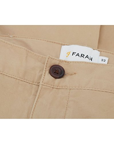 Farah Vintage Homme Hawking Logo Shorts Chino, Vert Beige