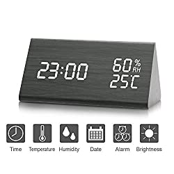Shengmi Led Alarm Clock, Wooden Digital Alarm Clock Activated By Either Touch Or Sound,displays Time Date & Temperature,(year, Month, Data, 1224 Hour, Time, Alarm & Brightness Setting)
