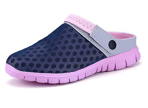 Sandalias de Playa Mujer,Zuecos de Sanitarios Zapatillas Ligeros Respirable Zapatos Verano,Rosa Azul,37 EU=38 CN