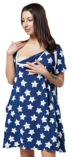 Blue Damen-nachthemd (HAPPY MAMA Damen Geburtskleid Krankenhaus Umstands Nachthemd Stillfunktion 1028 (Blue Jeans mit Sterne, EU 38, S))
