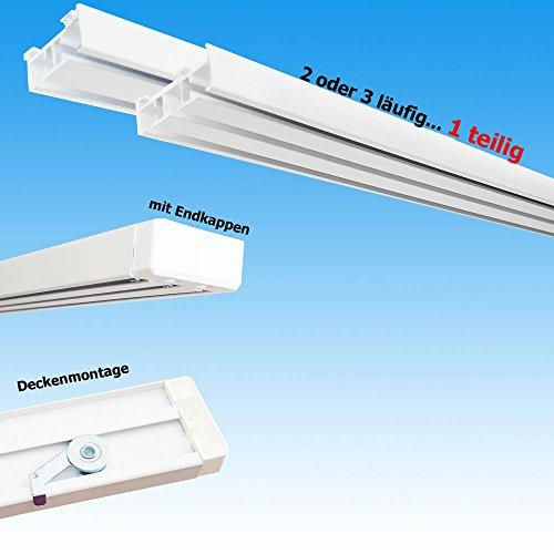 Aluminium Gardinenschiene Schiebevorhang Flächenvorhang Set 2 3 läufig weiß Deckenmontage 1 teilig