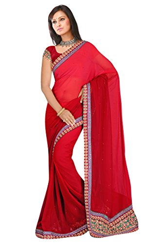 Blood Red resham embroidery embroidered chiffon sarees