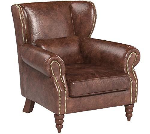 Phoenixarts Vintage Ledersessel braun Design Lounge Echtleder Ohrensessel Leder Club Sessel 463