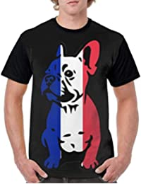 Gorgeous Socks Mens Short Sleeve Crew-Neck Tshirts France Flag Bulldog Sportswear t-Shirt