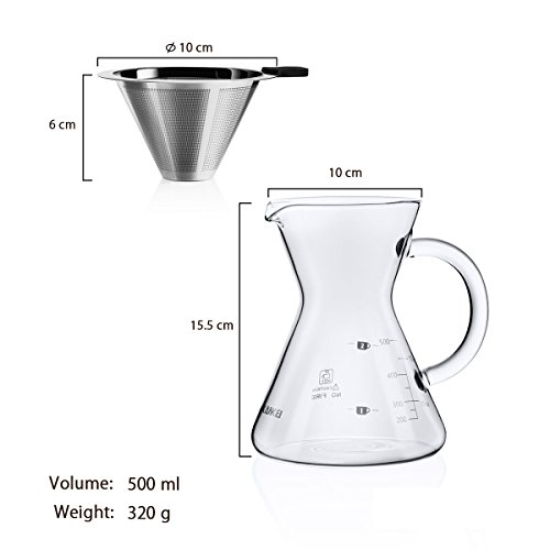 Love-KANKEI Pour Over Coffee Maker, Manual Drip Coffee with Permanent Filter 500 ml/17 oz for 1 ...