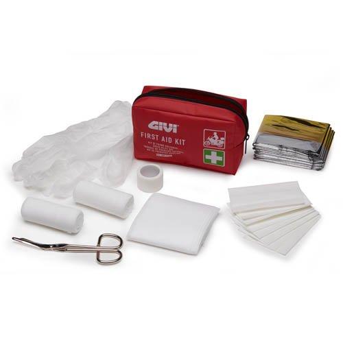 Kit pronto soccorso portatile, a norma DIN13167. Contiene bende, nastro adesivo, bende auto adesive, garze, forbici, guanti in PVC e telo d'emergenza