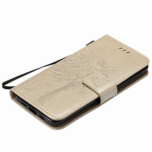 Custodia Xiaomi Mi 5 Cover Case, Ougger Fortunato Foglia Stampa Portafoglio PU Pelle Magnetico Stand Morbido Silicone Flip Bumper Protettivo Gomma Shell Borsa Custodie con Slot per Schede (Oro) Oro