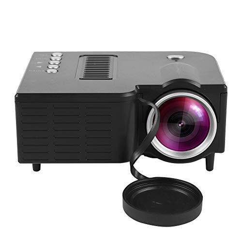 ASHATA Mini Beamer, LCD HD Beamer Videobeamer Multimedia Heimkino Projektor,Portable Home Theater LED Mini Projektor mit Fernbedienung,Unterstützt 1080P Video VGA USB HDMI AV SD EU-Stecker (Schwarz)