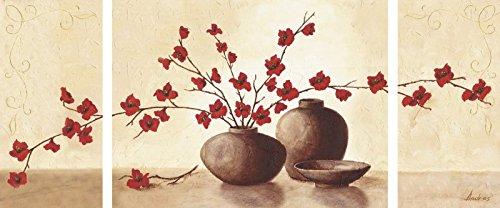 Artland Mehrteiliges Leinwand-Bild fertig aufgespannt auf Holzfaserplatte Andres Stillleben mit roten Blüten II Stillleben Vasen & Töpfe Botanik Malerei Creme 60 x 80 x 1,2 cm A3FH