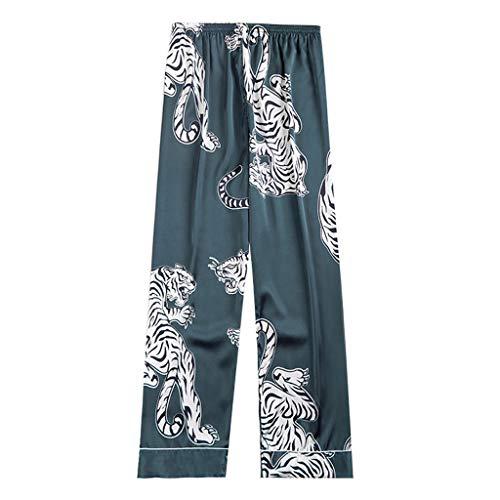 WINLISTING Männer Simulation Silk Pyjamas Lingerie Print Long Sleep Pants (Grün, XL) - Grüne Damen Sleep-pant