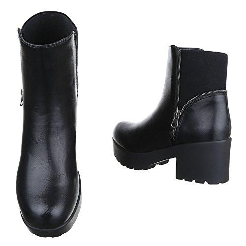 Ital-Design Boots / Bikerboots Damen Schuhe Biker Boots Blockabsatz Moderne Stiefeletten Schwarz avKX082l