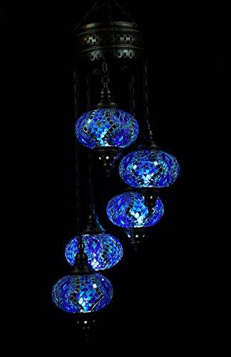 Handmade Turkish Mosaic Chandelier Large Globe Glass Morrcan Style Turkish Lamp