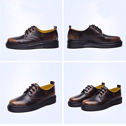 Student Stil Leder einzelne Schuhe Frauen runde Zehe flache Ferse Marder Schuhe Matte Brown