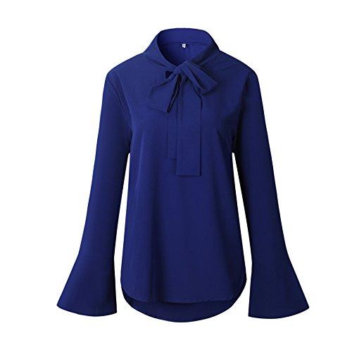 Flight Cat Donne Magliette Casuali delle Camicette della del V Collo Manica Lunga Camicia Bluse Tops da Ufficio e Partito Blu reale