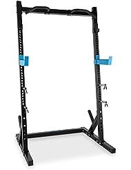 Capital Sports Racktor Semijaula Estación de pesas Acero (2 ganchos en J con gran capacidad de carga y brazos de seguridad con 35 alturas, barra dominadas, 4 soportes para discos de hasta 31mm)