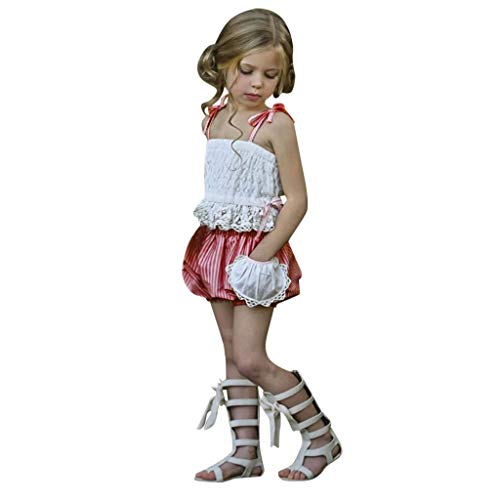 wuayi  Baby-reizende Weg von den Schultergurten schnüren Sich Weste + Gestreifte Kurzschlüsse Tops Kleidung Outfits 6 Monate - 4 Jahre