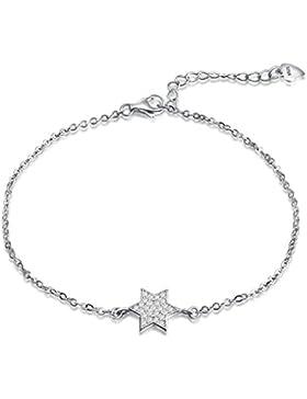 Ategazza Silber Armband Stern Hexagramm Zirkonia 14+3cm
