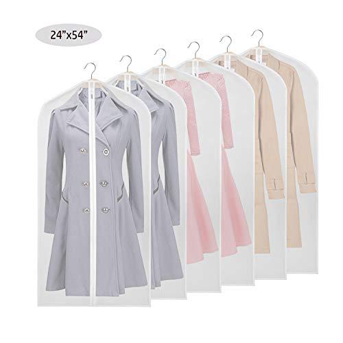 PEVA Kleidersack Abdeckungen für Lagerung, Anti-Motten-Schutz, faltbar waschbar für langes Kleid Tanzkostüme Business Anzüge Kleider Mäntel,24X54inch (138cm/6pcs) -