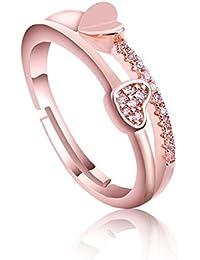 Gorgeous Swarovski Crystal Heart Shape Rose Gold Adjustable Rings For Women & Girls