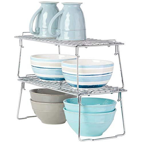 mDesign Juego de 2 estantes apilables para almacenaje de cocina - Repisa metálica de cocina con patas plegables - Moderno organizador de armarios para vajilla, conservas y especias - plateado