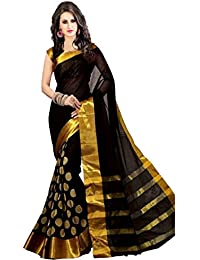 Trendz Women's Cotton Silk Saree With Blouse Piece (Tzn_Vishwa_Dot,Black,Free Size)