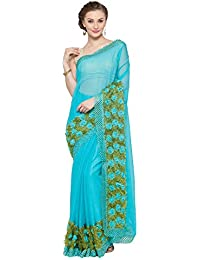 KVS FAB Turquoise Blue & Green Color Chiffon Saree(KVSSR63_RV)