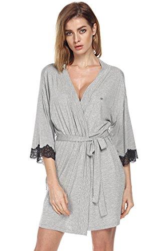 Us-armee-pyjama (Ekouaer Damen 3/4 Arm Morgenmantel Spitze Kimono kurz Bademantel Robe Negligee (S (US S(6) ,UK 8-10, AU 10), Grau748))