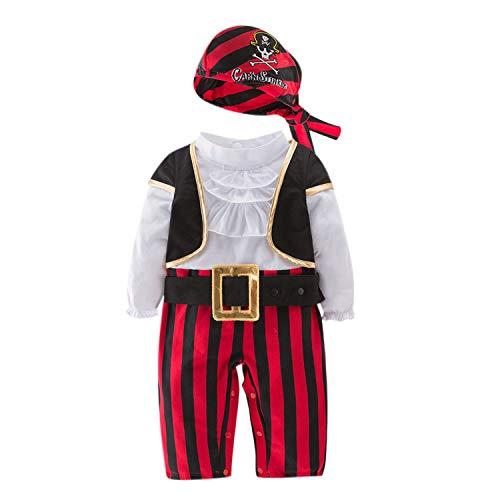 De feuilles Baby Jungen Piraten Seeräuber Kostüm Outfits Neugeborene Strampler Weste Hut ()