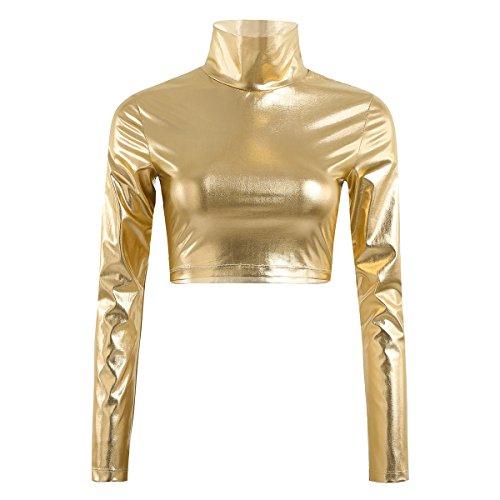 iiniim Damen Body Glänzenden Wetlook Rollkragen Langarm T-Shirt Crop Top Unterhemd Unterwäsche Party Clubwear S-XL Gold L (Gold-rollkragen-pullover)