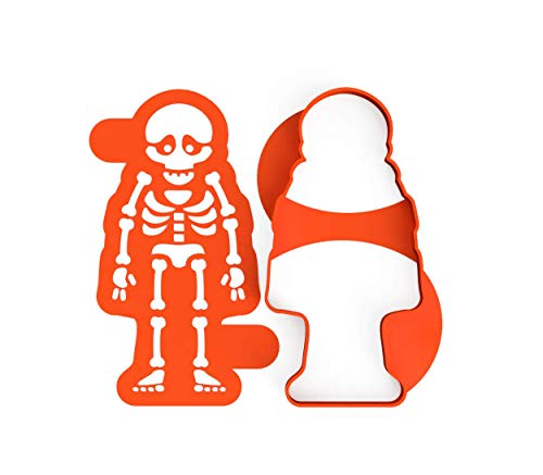 3DREAMS 2er Set Keksausstecher Halloween Skelett Ausstecher inkl. Stencil 2 Rezepten aus Bio Kunststoff Made in Germany Skelett Ausstecher Ausstechform Halloween