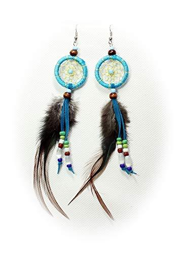 Hejoka-Shop Edler Indianer Ohrschmuck Paar Traumfänger 30 mm. Ring Ohrringe Ohrhänger Federn Perlen Dreamcatcher Schmuck (türkis) (Indianer Kostüm Schmuck Ohrringe)
