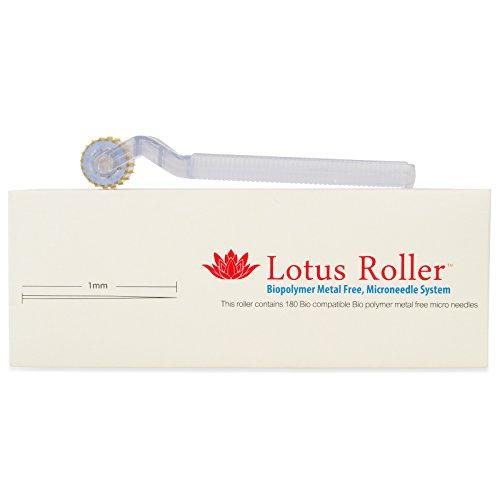 WHITE LOTUS Weltweit erster DERMA-ROLLER für empfindliche Haut zur Holistisch Micro-Haut-Nadelung von Personen mit Metall-Allergie | Natürlicher Microneedling Lotus-Roller für Dehnungsstreifen 1mm