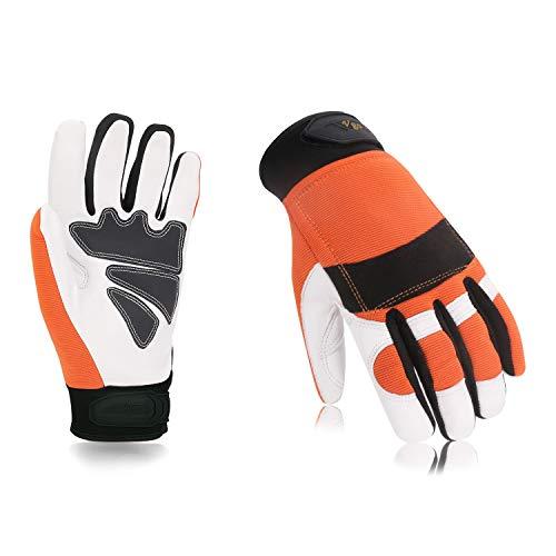 Vgo EN381-7, Klass 1, 20 m/s, Kettensägeschutzhandschuhe, Schnittschutz, hohe Anti-Schneidenferigkeit, aus Ziegenleder und PVC (1 Paar, 9/L, Orange, GA8912)