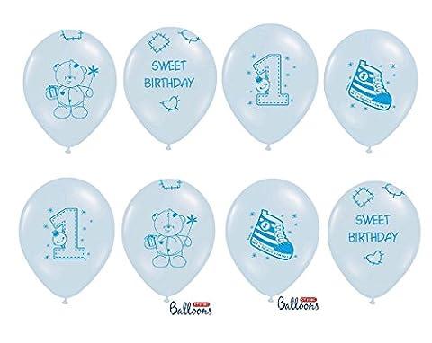 FesteFeiern® Luftballon Set zum 1. Geburtstag Junge | 8 Teile (Helium geeignet) in bunten Blautönen | Luftballon Party Deko Set 1. Geburtstag