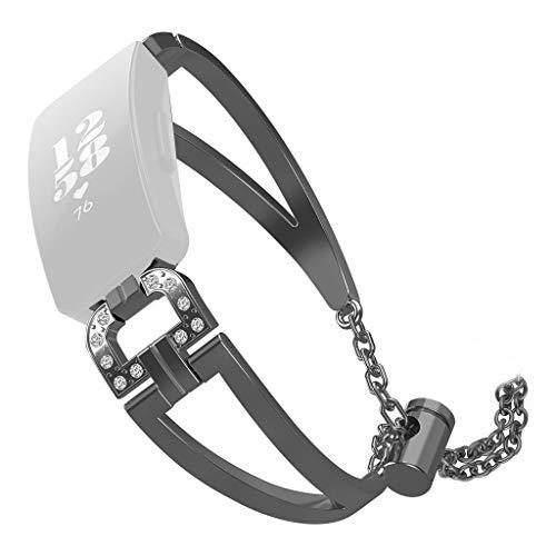 Hengzi Luxus-D-Word-Metallkristall-Uhrenarmband-Armband für Fitbit Inspire/Inspire HR (Schwarz)