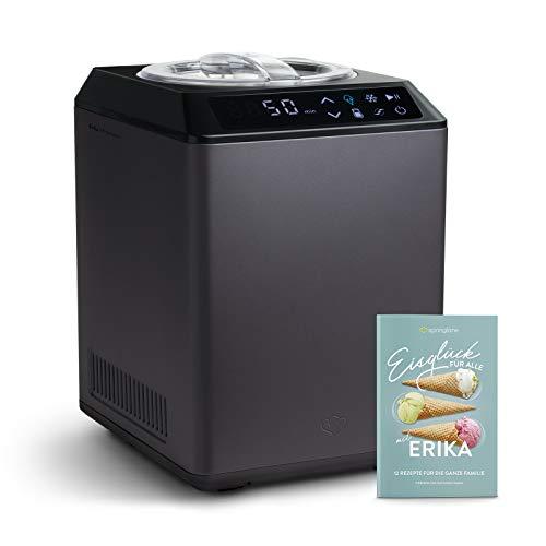 Eismaschine & Joghurtbereiter Erika 2,5 L mit selbstkühlendem Kompressor 250W, aus Edelstahl mit Kühl- und Heizfunktion, inkl. Rezeptheft