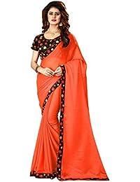 Greenvilla Designs Orange Silk Saree With Blouse