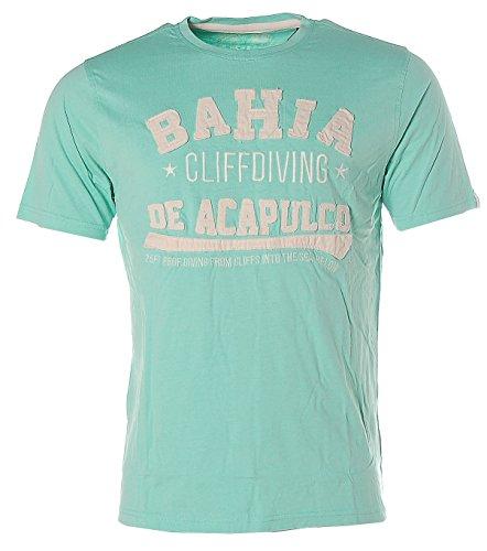 Kitaro Herren Kurzarm Shirt T-Shirt Rundhals Bahia de Acapulco Grün