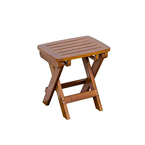 Chaises pliantes CJC Portable Bambou Tabouret Imperméable Étape Tabouret Douche Ensemble Pied Pliant Tabouret Pique-Nique Pêche Foncé (Couleur : Brown 34.5cm)